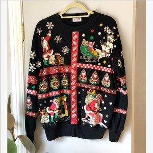 vintage black santa print ugly christmas sweater